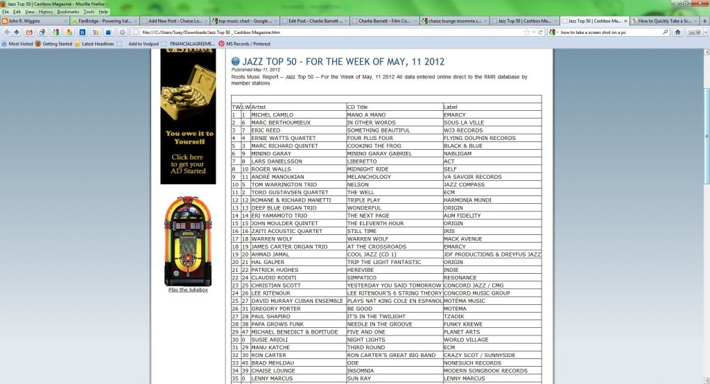 Insomnia hits 34 on the CashBox Jazz Top 50